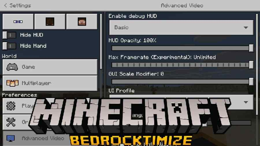 Bedrocktimize Pack (Quick & Organized Settings + FPS Options)